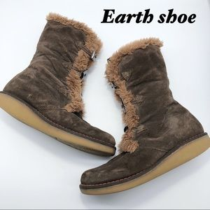Earth Shoe Chocolate Leather Knee Hi Faux Fur 8.5